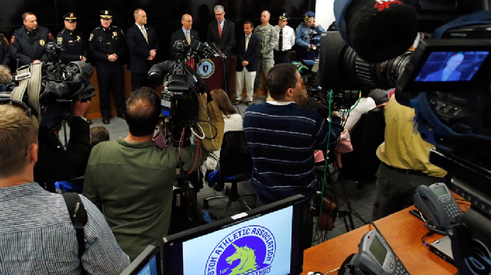 Officials hold a news conference regarding security measures for the upcoming Boston Marathon in Framingham, Mass., Monday, March 10, 2014. Spectators are strongly discouraged from bringing backpacks, coolers and other large items, and instead are urged to carry belongings in clear plastic bags like those being given to runners to stow their gear. At least 3,500 police officers will be spread across the eight cities and towns that make up the marathon route on April 21, more than double the number from last year. (AP Photo/Elise Amendola)