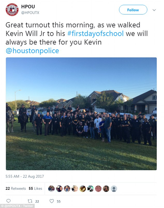 Dozens of police officers escorted a Houston-area boy to his first day of kindergarten in place of his officer father who was struck and killed in 2011 while investigating a traffic accident. Some officers were on horseback Tuesday to escort 5-year-old Kevin Will Jr. to Wildwood Elementary School in Tomball. The boy's mother earlier sent a text asking if some officers could come to her home and help walk her son to school as he started kindergarten. Houston police Officer Kevin Will died in May 2011 after being hit by a vehicle at the scene of an unrelated wreck. His wife was pregnant at the time.