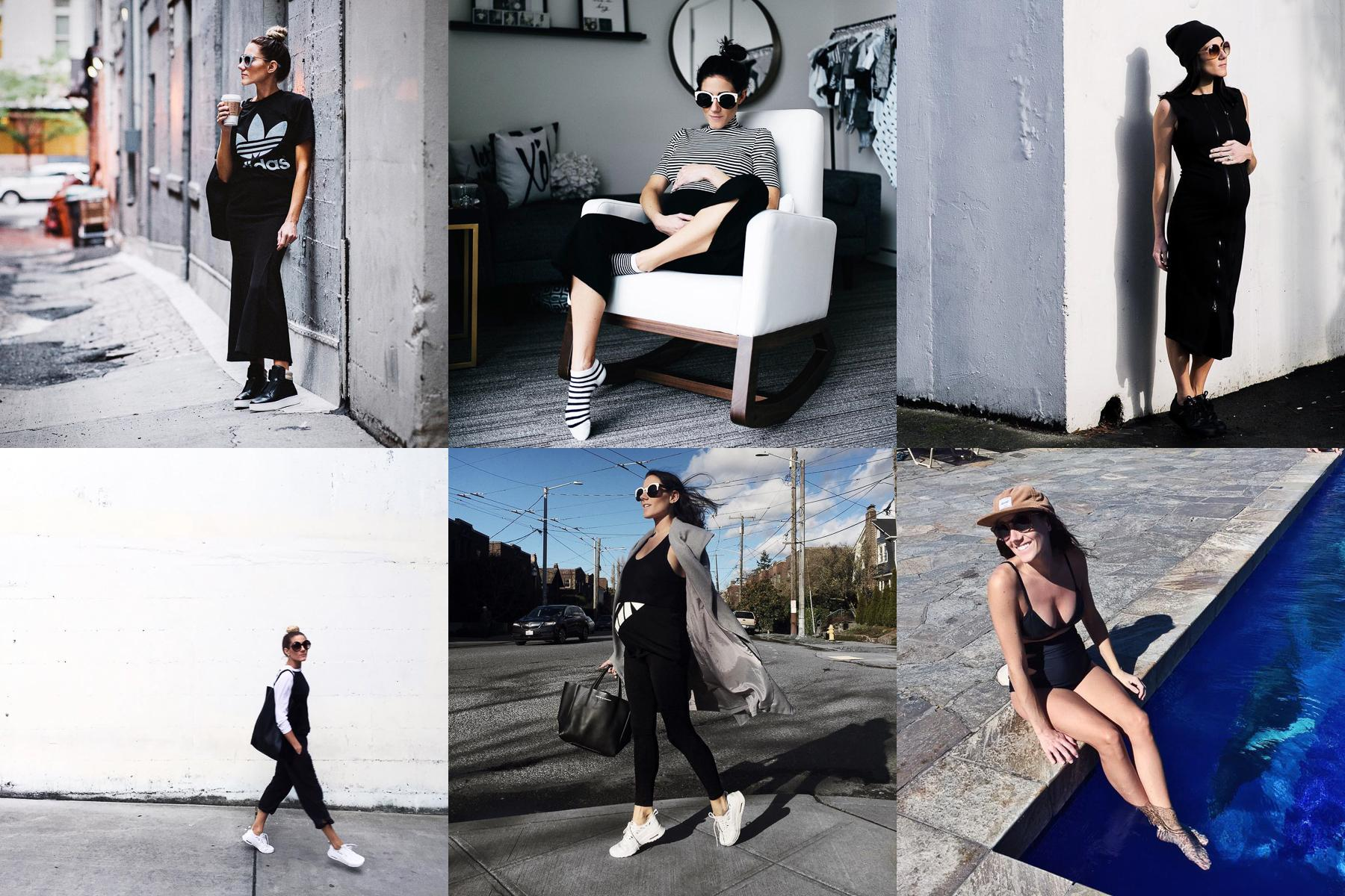 Maddie Haisch's Instagram account fits her username, @blackwhiteandbrunette, perfectly with stark black and white contrasts in all of her photos. Maddie makes fashion and comfort look easy together and recently her pregnancy fashion has been so on point. (Images courtesy of @blackwhiteandbrunette)