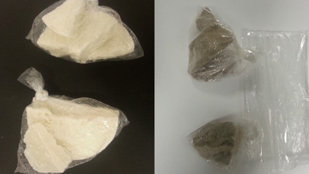 Crack cocaine, left, and heroin seized by Appleton authorities in a July 30, 2014 bust. (Photo courtesy Appleton Police Dept.)
