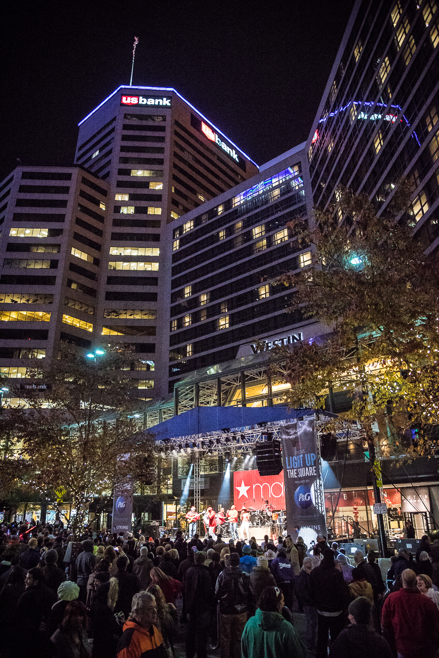 <p>Macy's Light Up the Square was held on Friday, November 23, 2018. The 40-year-old, 55-foot Norway spruce was lit up with Christmas lights and topped with Macy's signature red star. Thousands of people gathered on the Square to witness the tree lighting and fireworks show immediately after. / Image: Phil Armstrong, Cincinnati Refined // Published: 11.24.18</p>