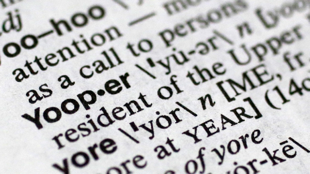"In this May 15, 2014 photo, ""Yooper,"" one of the 150 new words appearing in Merriam-Webster's Collegiate Dictionary and the company's free online database appears on page 1454 of the printed edition of the dictionary in New York. The term refers to native or longtime residents of the Michigan's Lake Superior region known for a distinctive manner of speaking and its Scandinavian roots. Many of the other new words and terms stem from digital life and social media; spoiler alert; hashtag; selfie and tweep, while others are food driven, including pho and turducken, a boneless chicken stuffed with a boneless duck stuffed with a boneless turkey. (AP Photo/Mark Lennihan)"