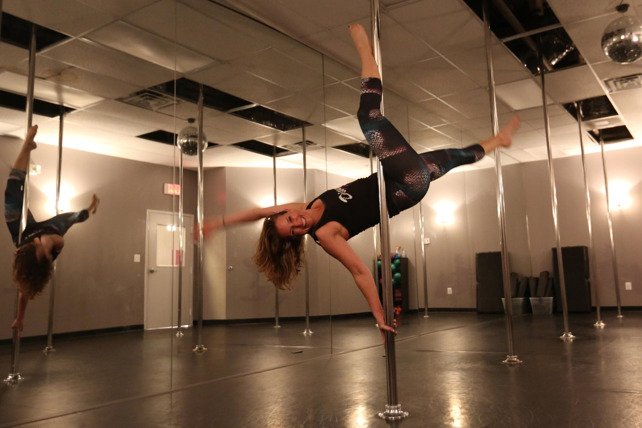 If you want to get a bit steamy and boost your self confidence, try a group pole dancing class at DivaFit! You definitely don't need a valentine to work on those moves. (Amanda Andrade-Rhoades/DC Refined)