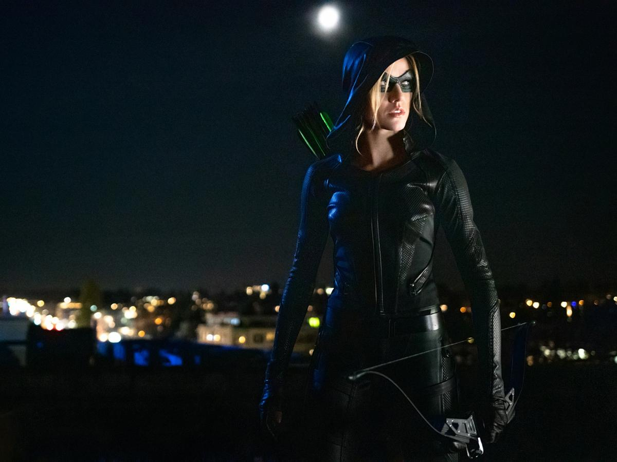 "Arrow -- ""Green Arrow & The Canaries"" -- Image Number: AR809b_0593r.jpg -- Pictured: Katherine McNamara as Mia  -- Photo: Colin Bentley/The CW -- © 2020 The CW Network, LLC. All Rights Reserved."