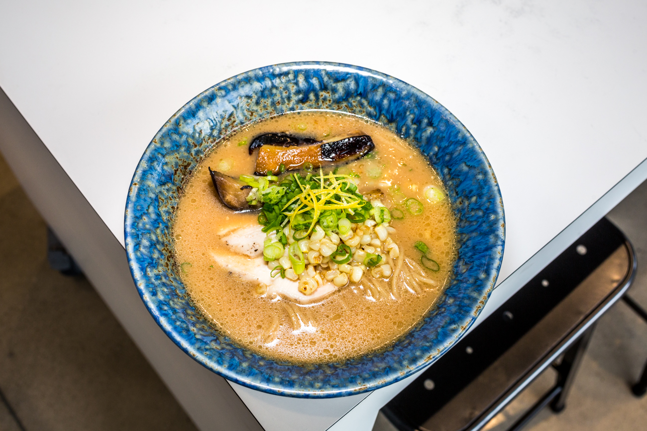 Summer Miso Ramen: chicken chashu, charred corn, and roasted eggplant / Image: Catherine Viox{ }// Published: 9.19.19