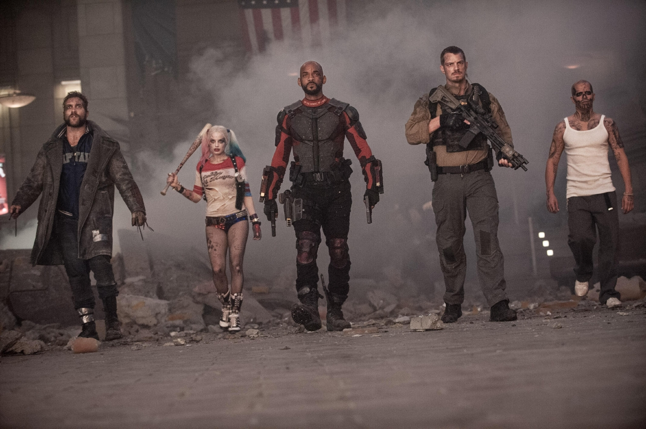 "(L-r) JAI COURTNEY as Boomerang, MARGOT ROBBIE as Harley Quinn, WILL SMITH as Deadshot, JOEL KINNAMAN as Rick Flag and JAY HERNANDEZ as Diablo in Warner Bros. Pictures' action adventure ""SUICIDE SQUAD,"" a Warner Bros. Pictures release."