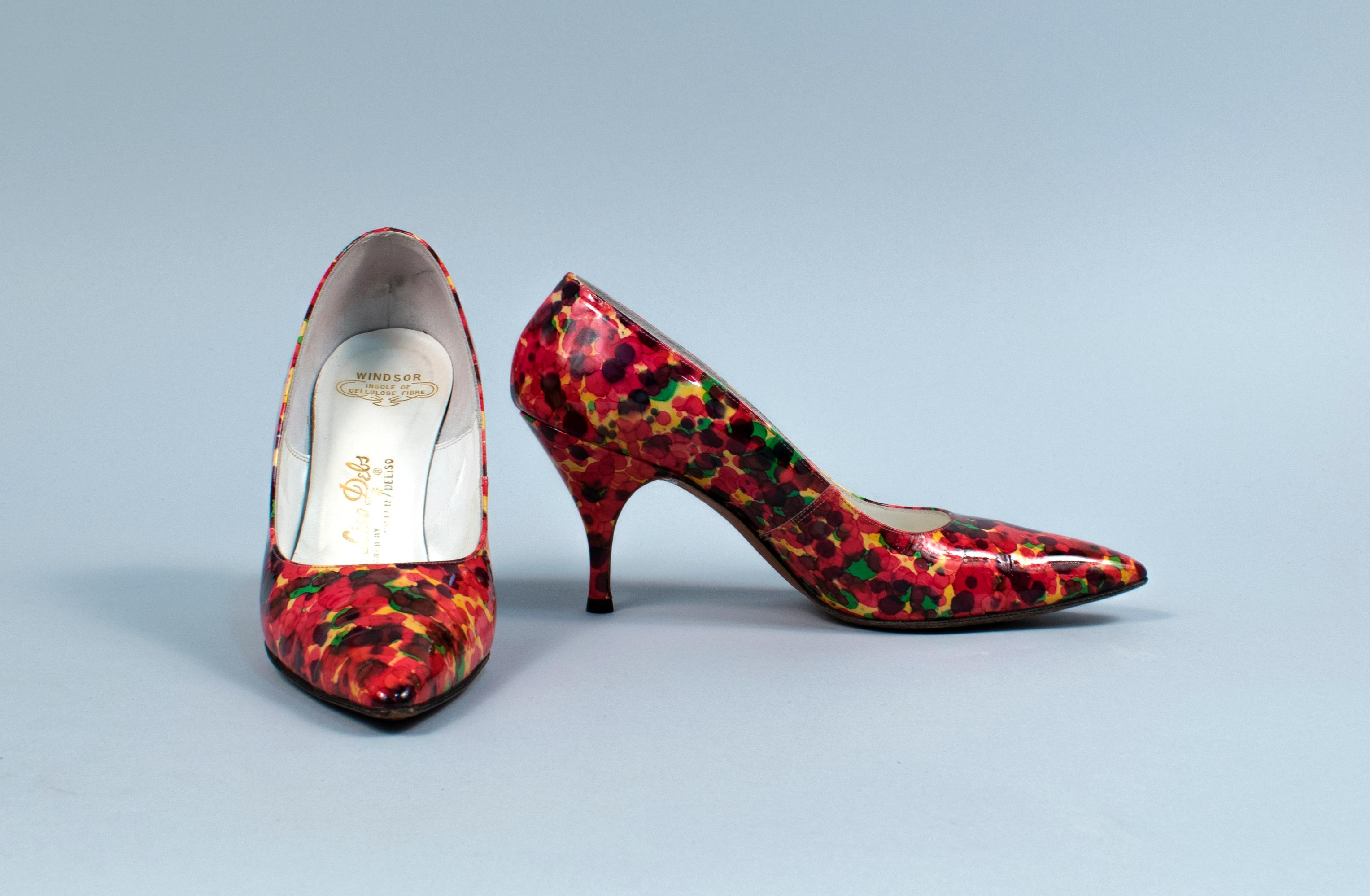 Multicolored high heels, 1950s, Nordstrom, Seattle retailer. Gift of Clara Berg, copyright MOHAI Collection.{ }