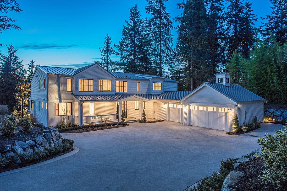 This Clyde Hill Modern Farm House project was completed by Calista Interiors and cost $3.5 million. New construction featured a metal roof, bathroom fixtures, marble tile and slab, cureless walk-in showers, a craft room, wet bar, and prep kitchen.   (Image: Clyde Hill Modern Farm House / Porch.com)