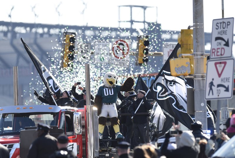 <p>Philadelphia Eagles NFL football team mascot Swoop waves during the Super Bowl LII victory parade, Thursday, Feb 8, 2018, in Philadelphia. (AP Photo/Michael Perez)</p>