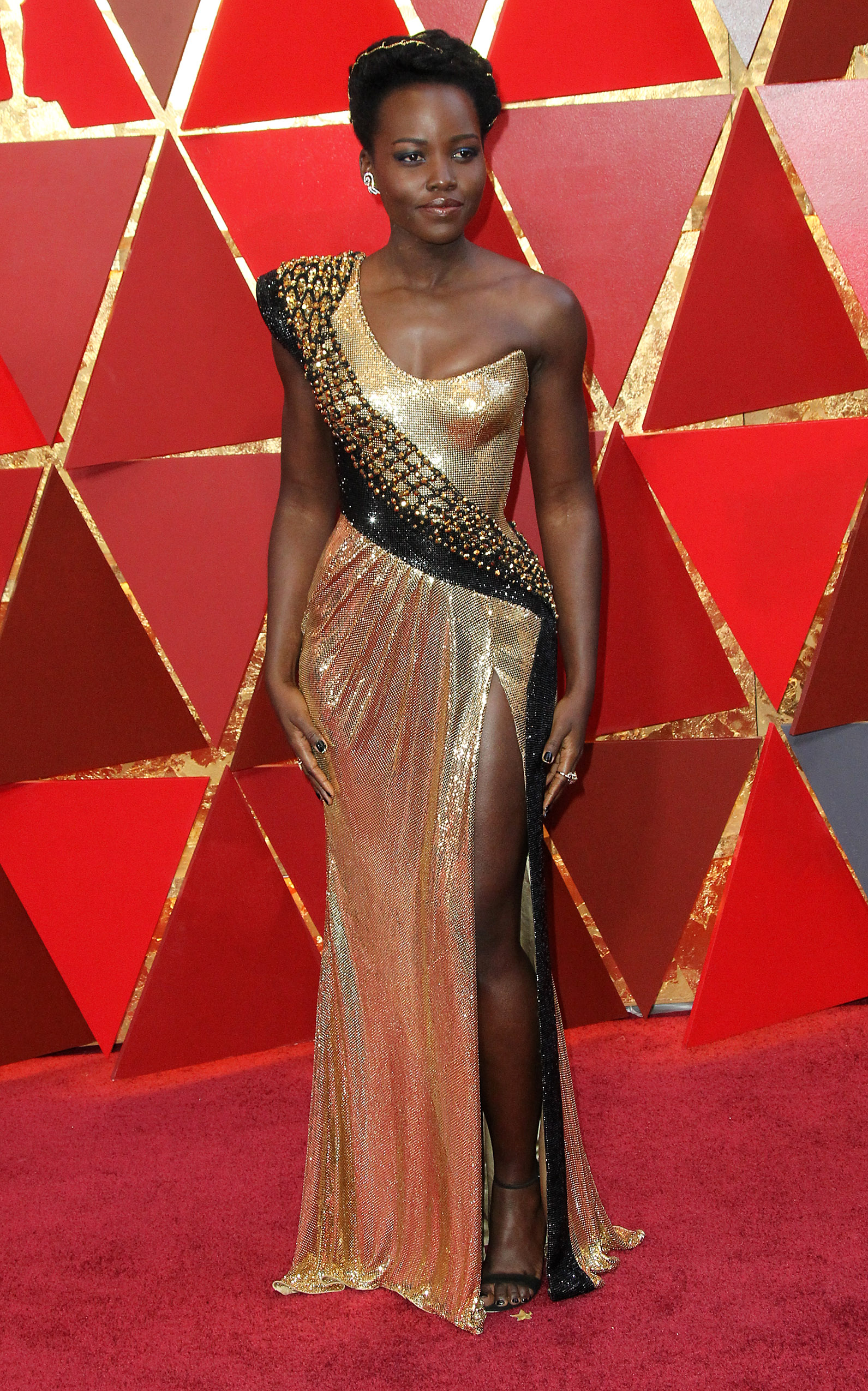 Lupita Nyong'o arrives at the 90th Annual Academy Awards (Oscars) held at the Dolby Theater in Hollywood, California. (Image: Adriana M. Barraza/WENN.com)<p></p>