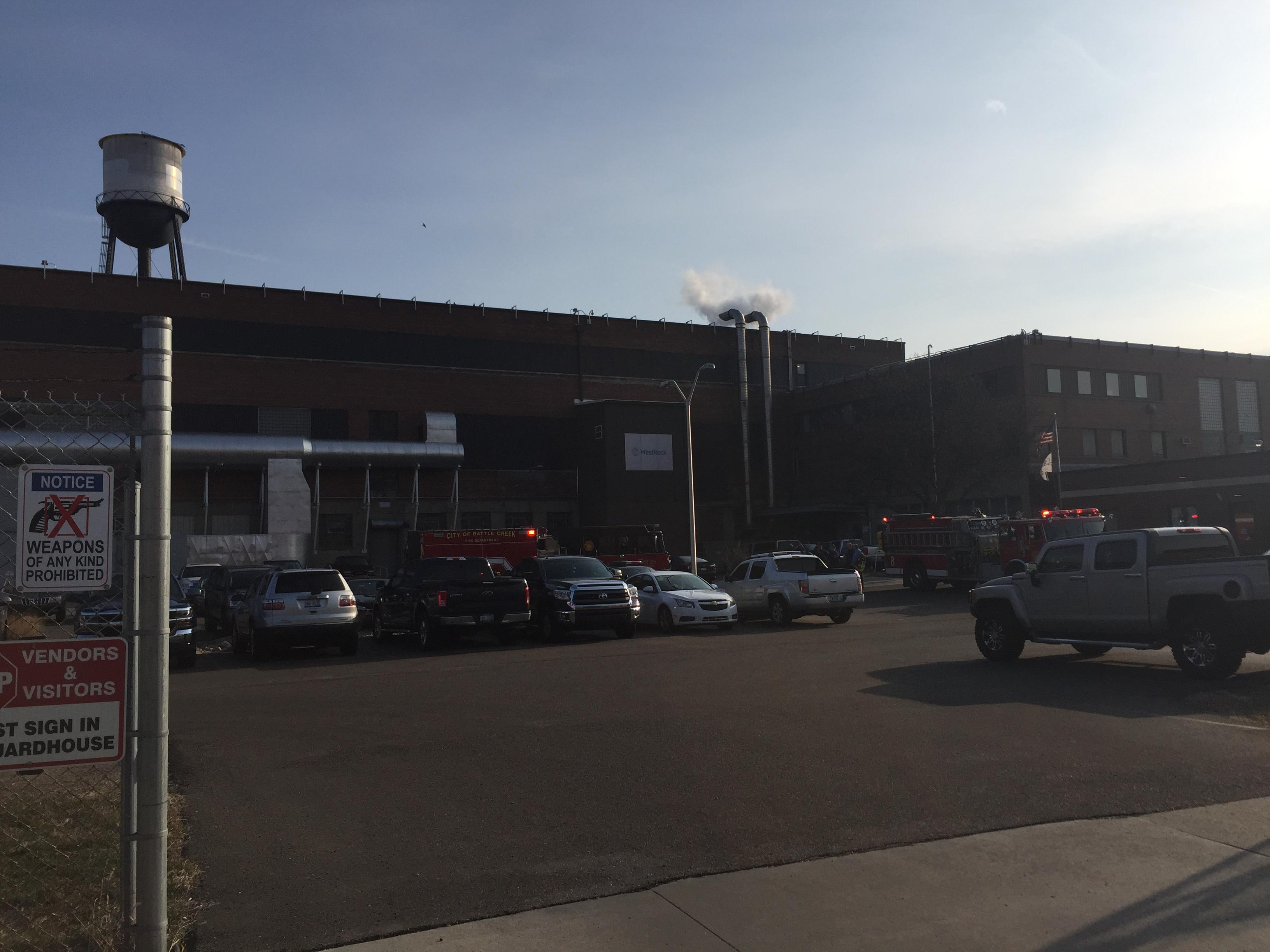 A man in his 30s was injured Wednesday, April 11, 2018, at the WestRock manufacturing plant in Battle Creek. (WWMT)