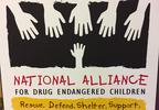 A sign recognizes the National Alliance for Drug Endangered Children at the KI Convention Center in Green Bay Aug. 29, 2017, ahead of an appearance by U.S. Attorney General Jeff Sessions.