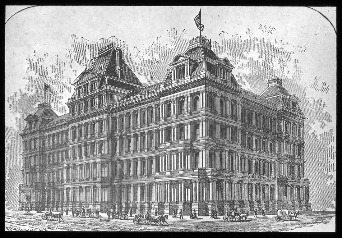 The United States Custom House and Post Office in Cincinnati was completed in 1885 after 11 long years of construction. It cost $5,088,328 to build. In today's money, that would be roughly the equivalent of $132,000,000. It was torn down to make room for the current post office in the mid-1930s. (Source: Inflation Calculator, US Official Inflation Data, Alioth Finance) / From the collection of the Public Library of Cincinnati and Hamilton County - Joseph S. Stern, Jr. Cincinnati Room / Image courtesy of the Public Library of Cincinnati and Hamilton County // Published: 9.27.18