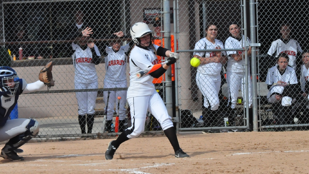 Kaukauna's Bethany DeValk takes a swing during the Ghosts' game against Appleton North on Tuesday. (Doug Ritchay/WLUK)