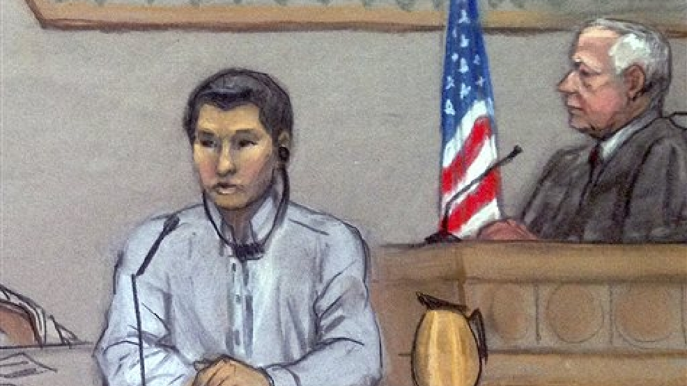 In this June 2, 2014, file courtroom sketch, Dias Kadyrbayev, left, testifies in federal court in Boston. Kadyrbayev, a native of Kazakhstan and friend of Boston Marathon bombing suspect Dzhokhar Tsarnaev, is charged with obstruction of justice and conspiracy for allegedly removing a backpack containing fireworks from Tsarnaev's dorm room after realizing he was suspected of carrying out the deadly 2013 attack. Kadyrbayev is scheduled to be in federal court in Boston, Thursday, Aug. 21, 2014 where he is expected to plead guilty to the charges. He was to go on trial in September. (AP Photo/Jane Flavell Collins, File)