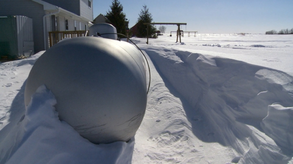 A propane tank is seen behind a home in Kewaunee County.