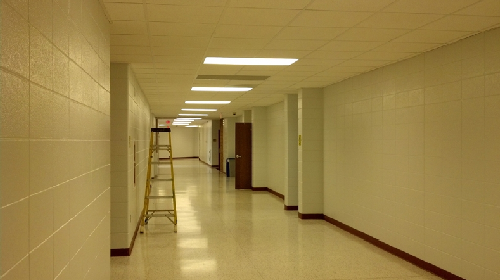 Final touches are being done to this hallway at Oconto High School, Friday, May 9, 2014. (WLUK/Kelly Schlicht)