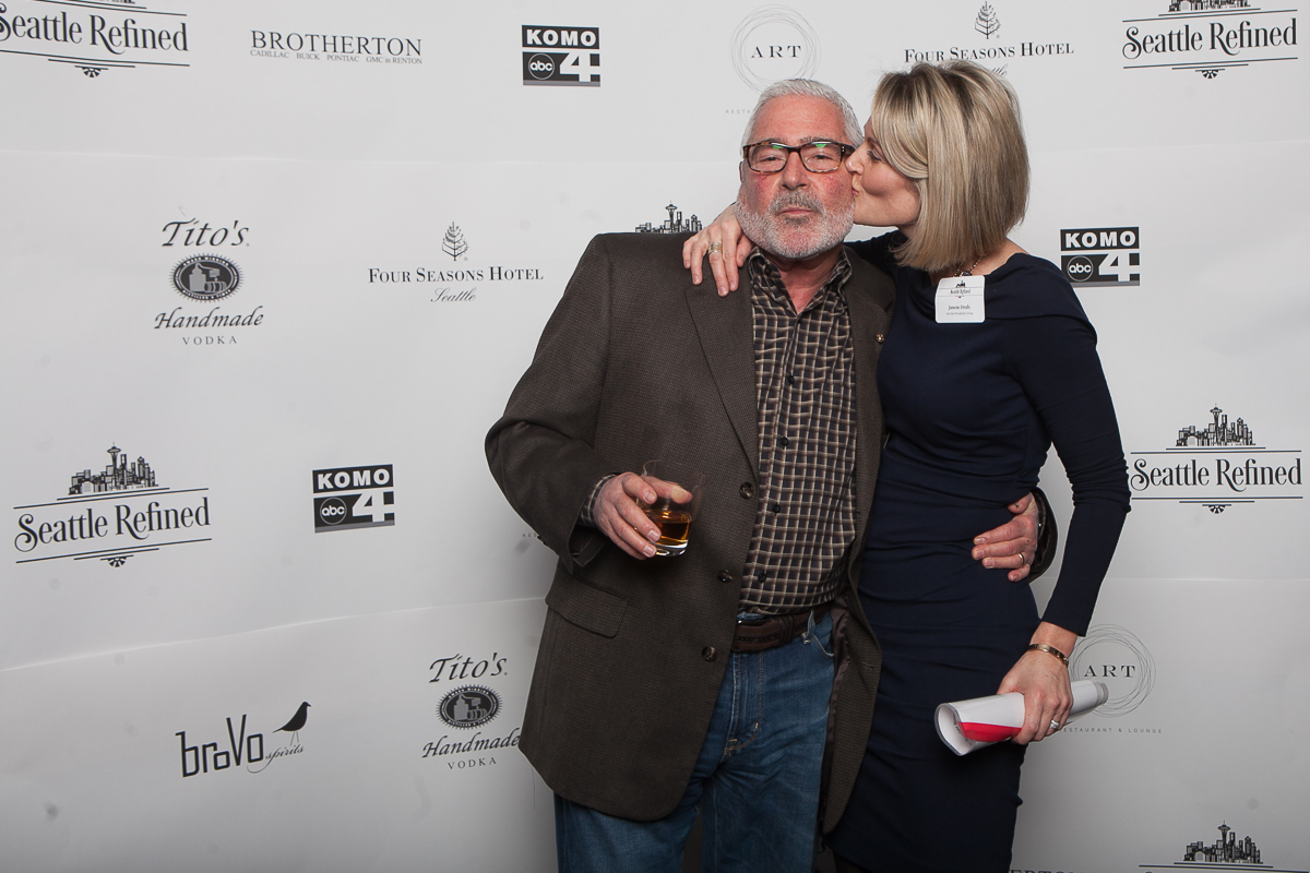 Flyod Kilmer and Janene Drafs celebrate the launch of Seattle Refined at the Four Seasons. (Image: Joshua Lewis / Seattle Refined)