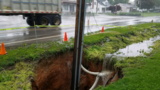 Sinkhole swallows utility pole in Jackson Township