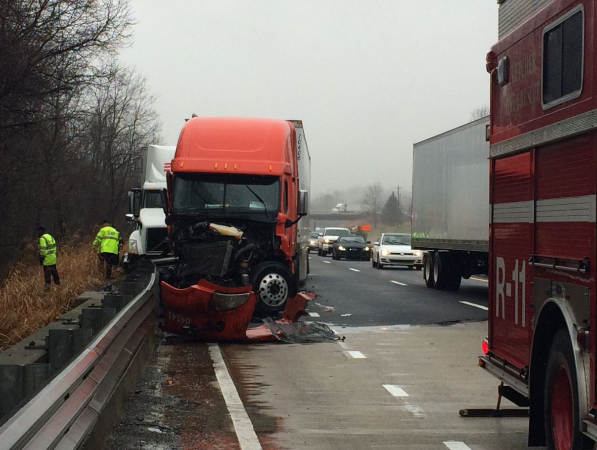 The scene along Interstate 26 on Thursday morning where a three-vehicle wreck caused traffic delays. (Photo credit: WLOS Staff)