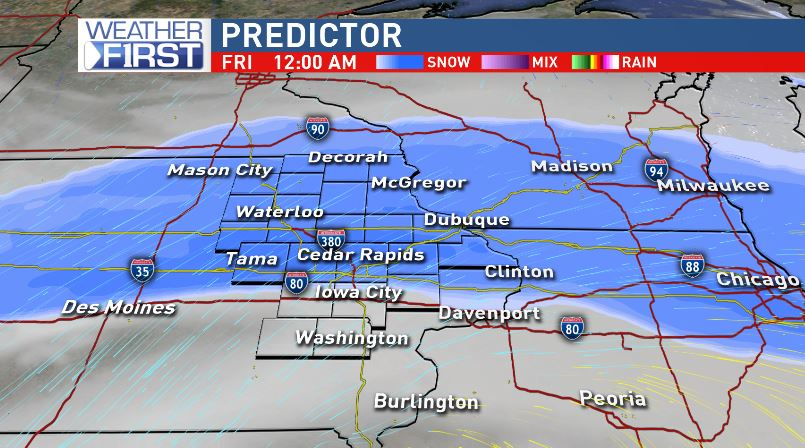 Snow will fall overnight into early Friday.<p></p>