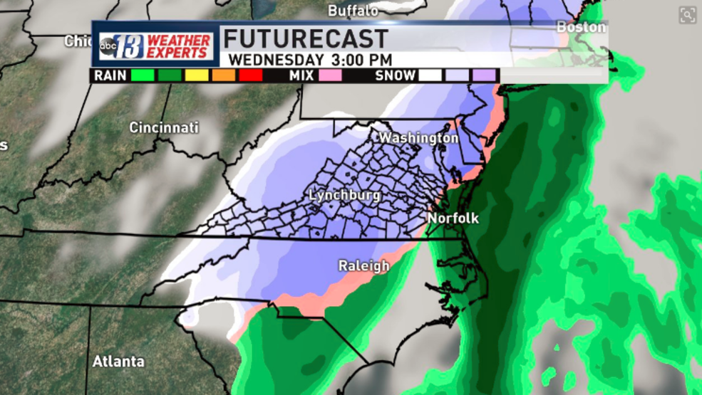 Frigid and tracking future snow for Lynchburg Danville and
