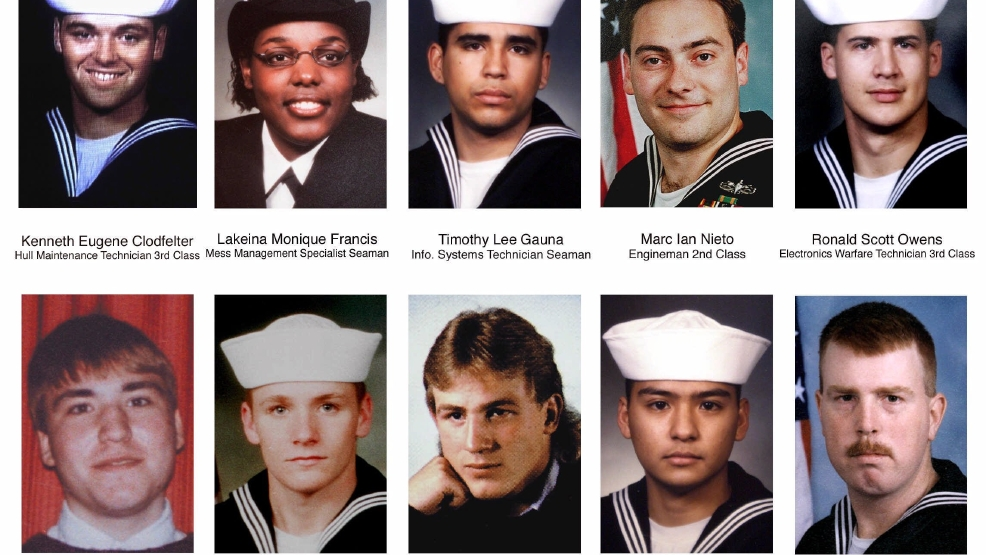 The Navy has declared the following sailors among the dead in the Oct. 12, 2000, attack on the USS Cole. Shown left to right, top row, Hull Maintenance Technician 3rd Class, Kenneth Eugene Clodfelter, Mechanicsville, Va.; Mess Management Specialist Seaman Lakeina Monique Francis, Woodleaf, N.C.; Information Systems Technician Seaman Timothy Lee Gauna, Rice, Texas; Engineman 2nd Class Marc Ian Nieto, Fond du Lac; Electronics Warfare Technician 3rd Class RonaldScott Owens, Vero Beach, Fla.. Second row; Engineman Fireman Joshua Langdon Parlett, Churchville, Md.; Fireman Apprentice Patrick Howard Roy, Keedysville, Md.; Electronics Warfare Technician 2nd Class Kevin Shawn Rux, Portland,N.D.; Mess Management Specialist 3rd Class Ronchester Mananga Santiago, Kingsville, Texas; Fireman Gary Graham Swenchonis Jr., Rockport, Texas. The USS Cole's home port planned a memorial service at Norfolk Naval Station, the Cole's home port in Virginia, on Wednesday, Oct. 18, 2000. (AP Photo, file)