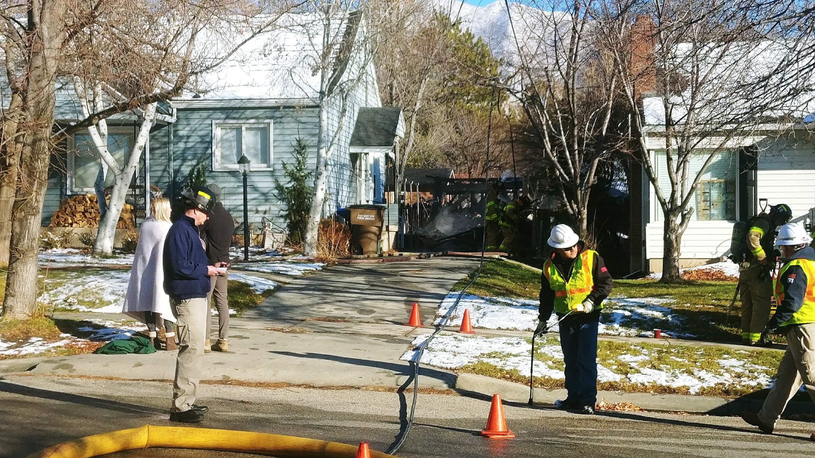 Salt Lake Fire Department  coordinates efforts in extinguishing a garage fire at a Salt Lake City residence. (Photo: Brian Morris / KUTV)<p></p>