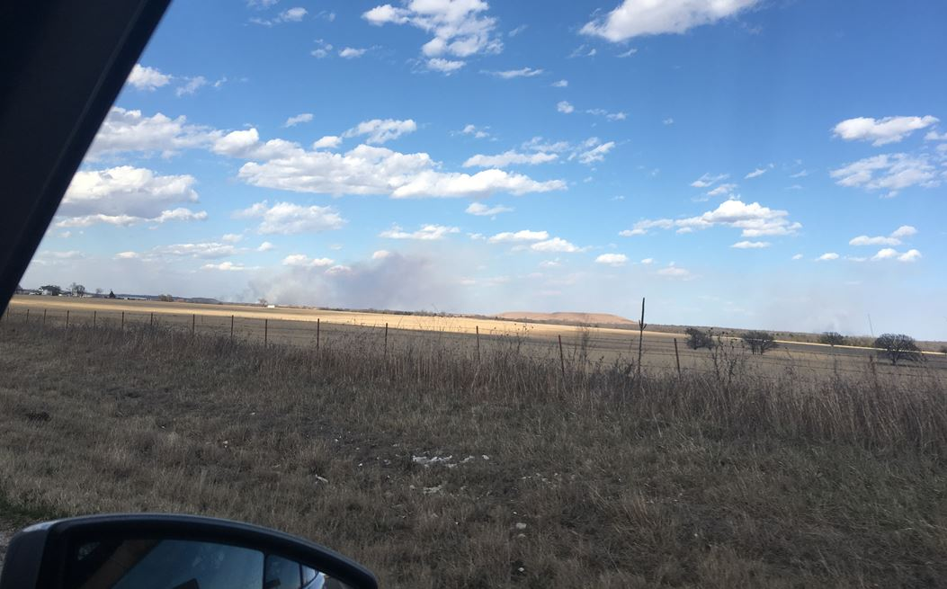 Crews are battling a grass fire north of Wynona. (KTUL)<p></p>
