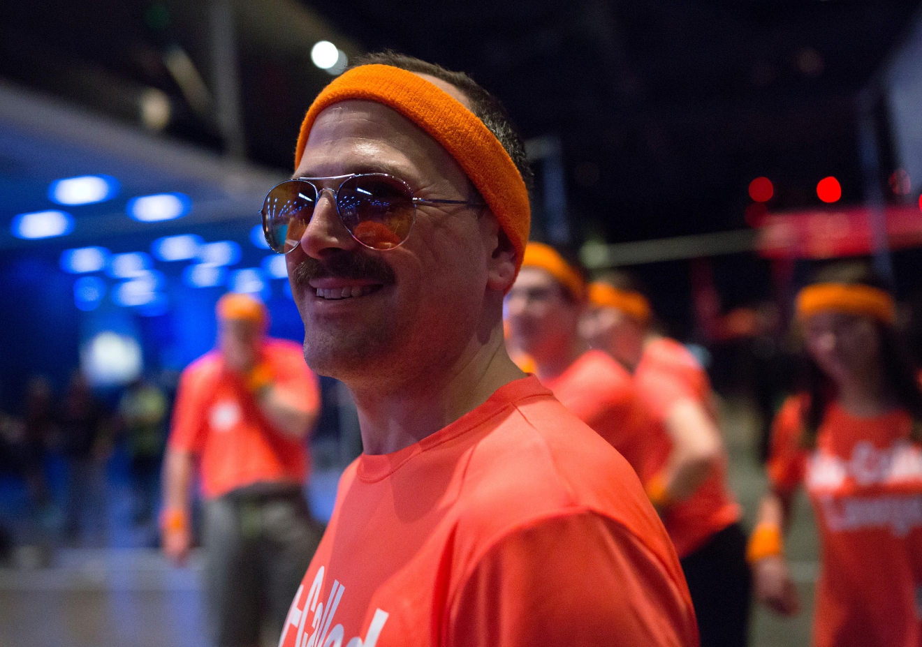 Jonathon Bashford waits on the sidelines during a game of dodgeball at the 6th annual Geekwire Bash at the CenturyLink Event Center. (Sy Bean / Seattle Refined)