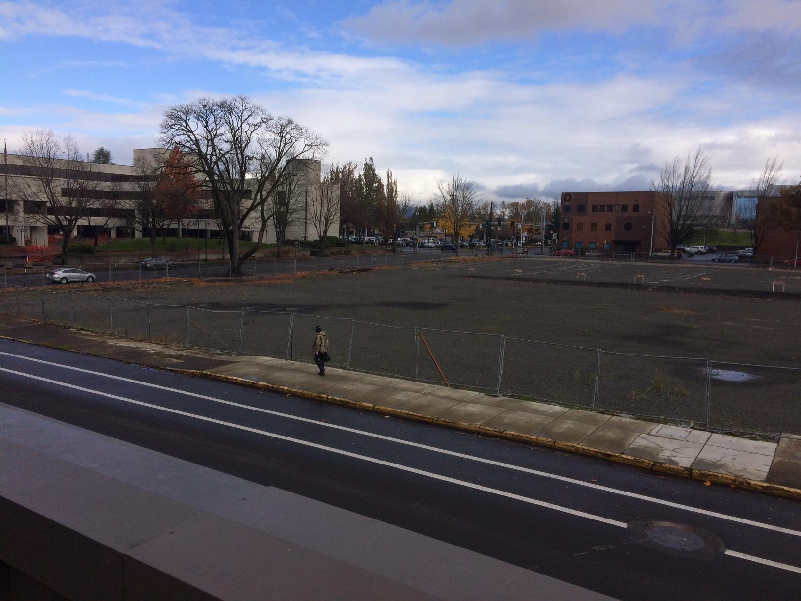 Lane County wants land where Eugene City Hall once stood as part of a land swap. (SBG)