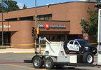 Police tape surrounds the BMO Harris Bank on Main Street in Shawano Aug. 25, 2017.