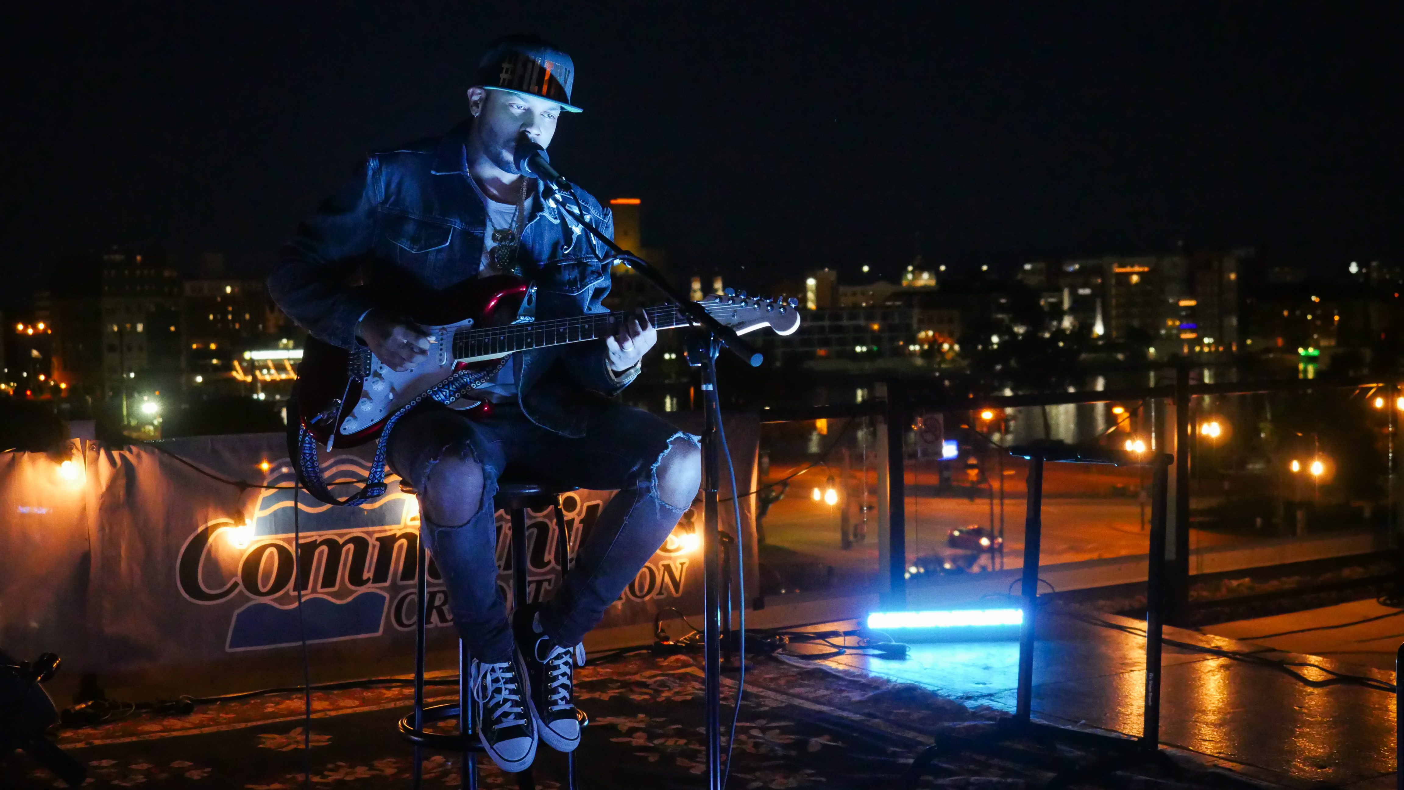 Seattle's Ayron Jones performing Hopeland Festival 2019 at Titletown Brewing Co.'s Rooftap in the Railyard District of downtown Green Bay, Friday, September 6th, 2019 (WCWF/ Beni Petersen)<br><p></p>