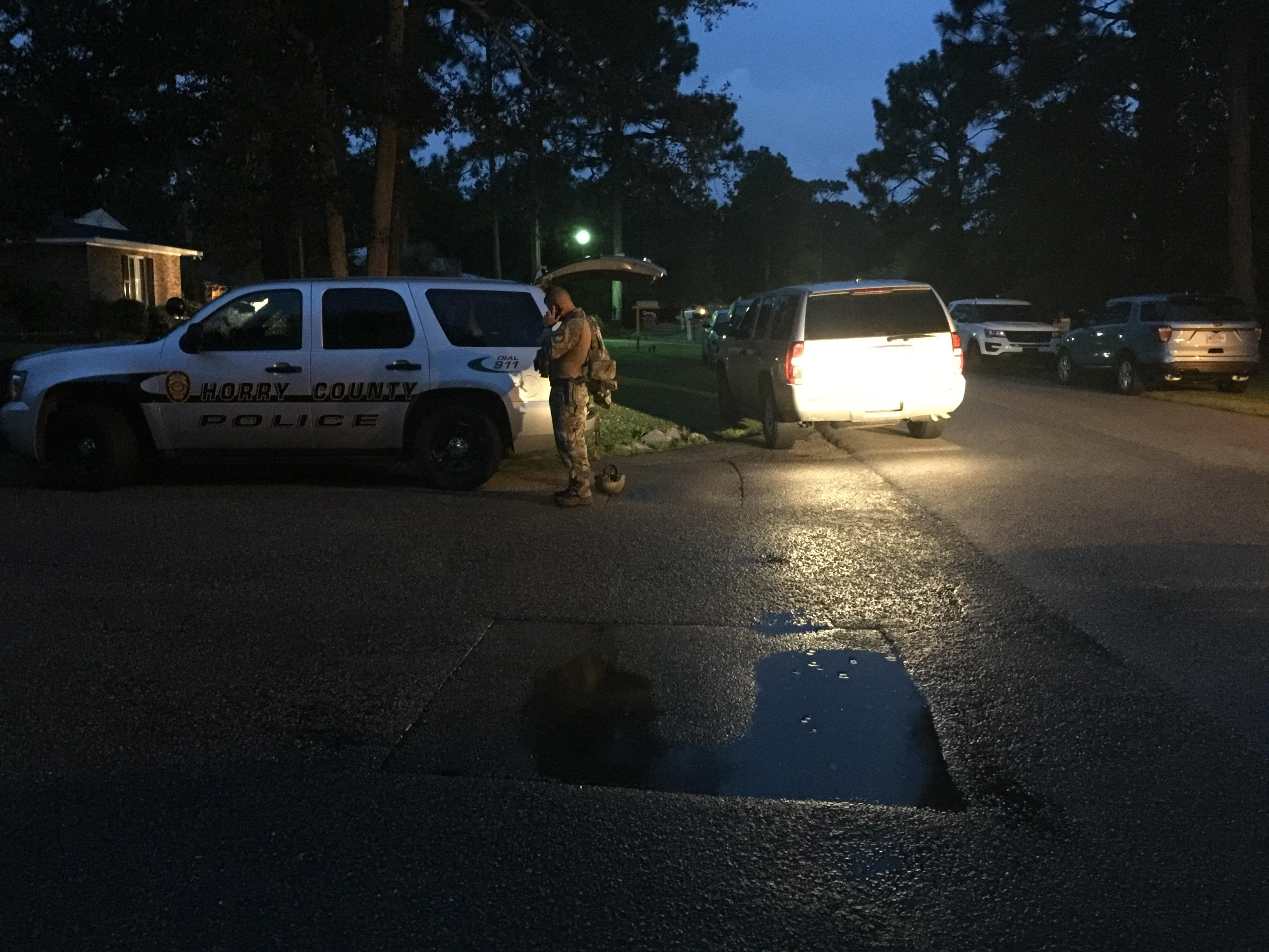 Crews respond to Turkey Ridge Road in Horry County in the early morning of 8.4.2017 (Kaley Lawrimore/WPDE)
