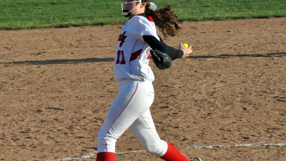 Kimberly pitcher Megan Kleist stymied Appleton North hitters during the teams' doubleheader on Monday. (Doug Ritchay/WLUK)