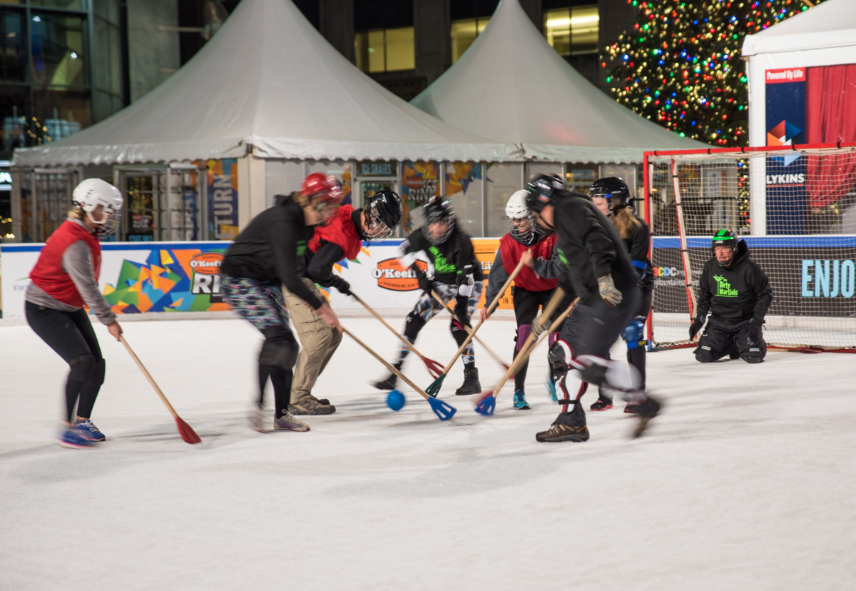Broomball, a sport that combines elements of hockey and soccer, is played from January 5 to February 20 on the ice rink on Fountain Square. Players wear gym shoes instead of skates and use a broom-shaped stick to slap the ball into the opposing goal. ADDRESS: 525 Vine St, Cincinnati, OH 45202 / Image: Sherry Lachelle Photography // Published: 1.8.17
