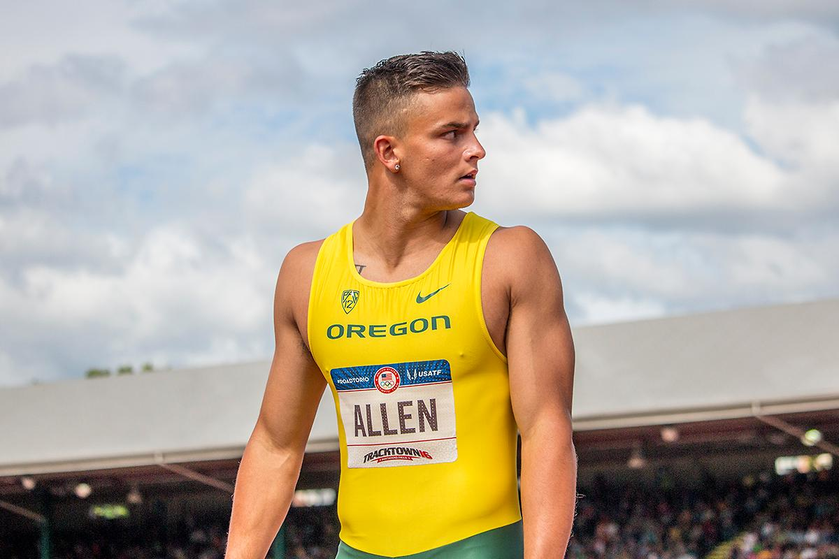 Oregon Duck Devon Allen looks back to the display board for his time in the men's 110 meter hurdle semis. Allen ran a 13.40. Day Nine of the U.S. Olympic Trials Track and Field continued on Saturday at Hayward Field in Eugene, Ore. and will continue through July 10. Photo by Katie Pietzold