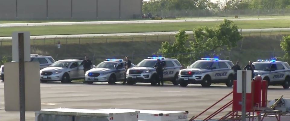 Multiple police cars respond to Yeager Airport after a plane crash. (WCHS/WVAH)