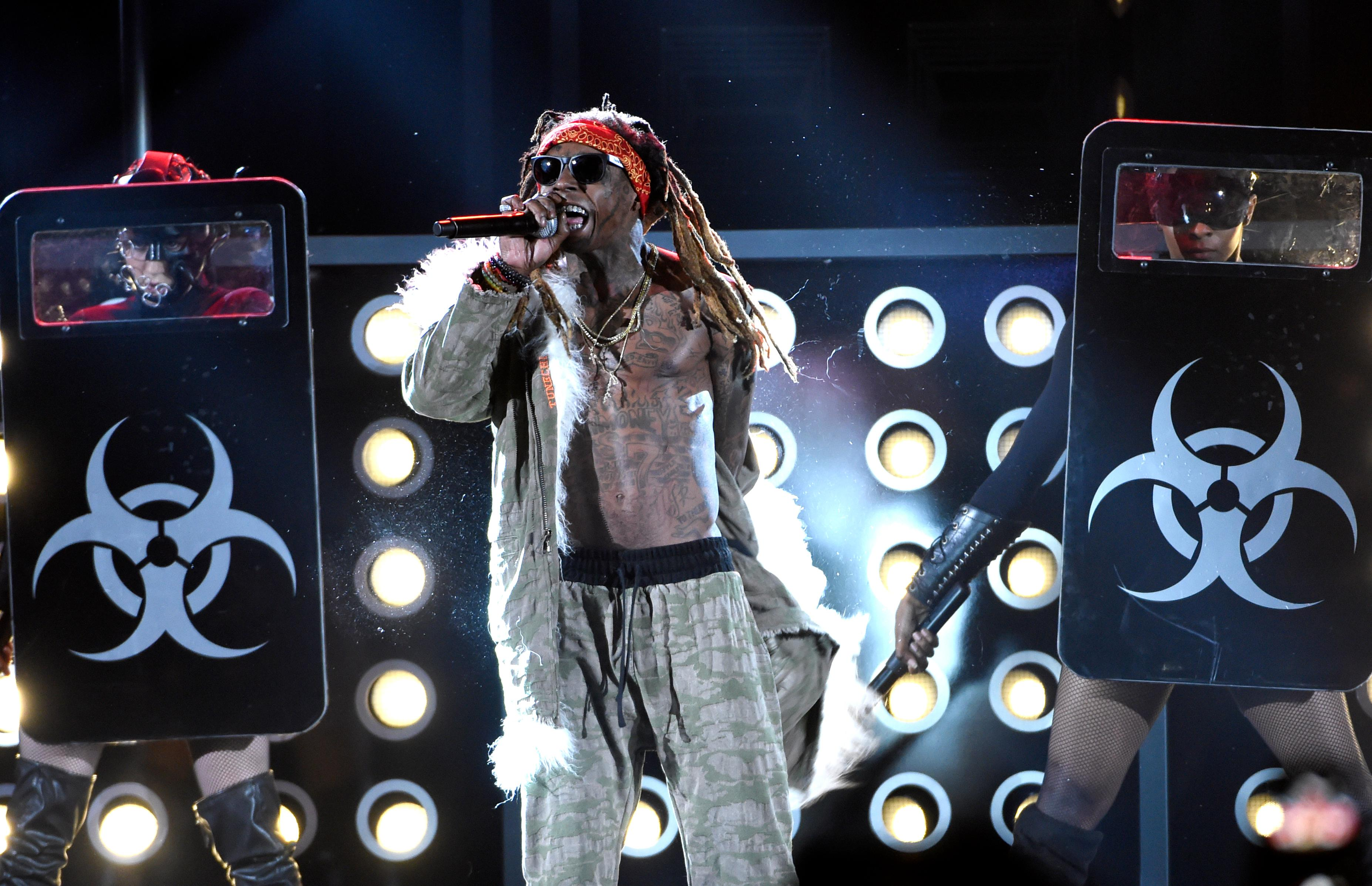 Lil Wayne performs at the Billboard Music Awards at the T-Mobile Arena on Sunday, May 21, 2017, in Las Vegas. (Photo by Chris Pizzello/Invision/AP)