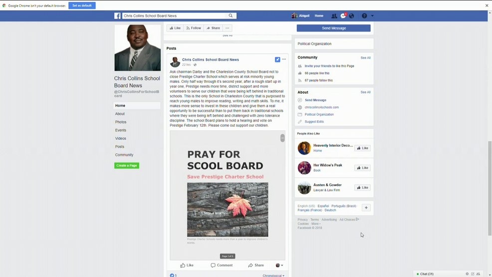 Charleston school board member's Facebook post about