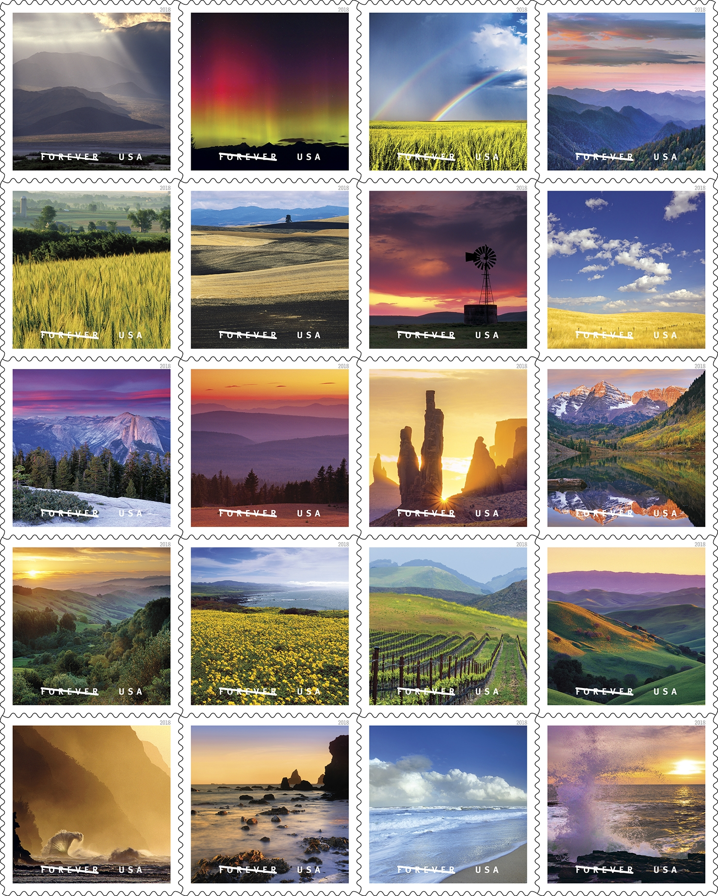 "O Beautiful: With the release of O Beautiful, the Postal Service commemorates the beauty and majesty of the United States through images that correspond with one of the nation's most beloved songs, ""America the Beautiful."" (USPS)"