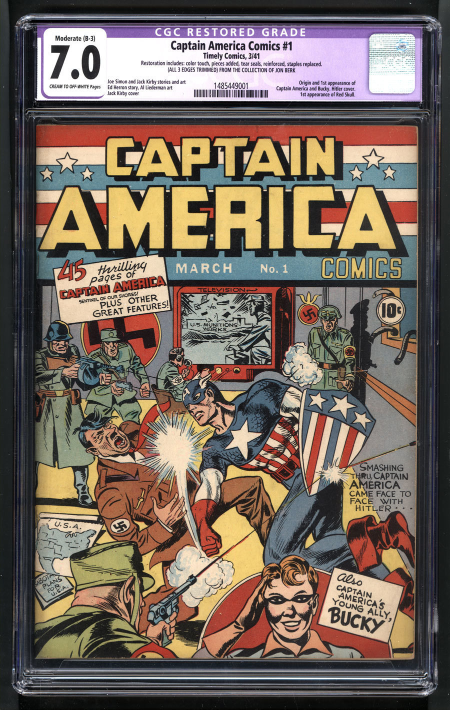 This undated photo provided on March 2, 2017 by Metropolis Collectibles in New York shows a copy of a rare 1941 No. 1 Captain America Comics. The comic book is among those owned by Hartford, Conn., attorney John Berk to be auctioned on May 15. (Jon Berk/Metropolis Collectibles via AP)