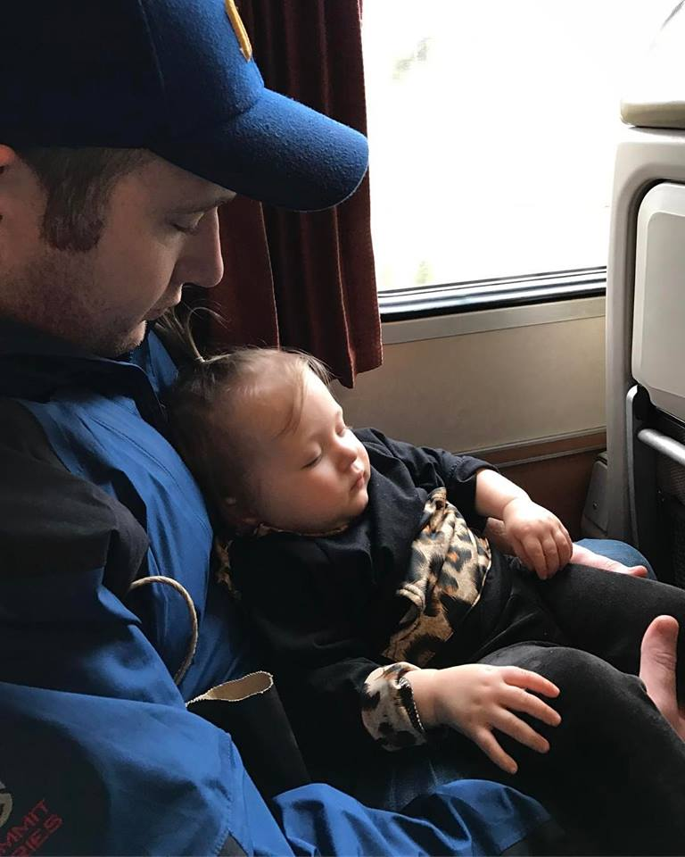 A successful visit to Portland, two tired babes on the train ride home.  That's a wrap!   (Image: Kate Neidigh)