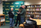 Larry Laraby, an alternative education teacher at Green Bay Preble High School, is interviewed by FOX 11's Michelle Melby Feb. 7, 2018, after being announced as a Golden Apple Award recipient.