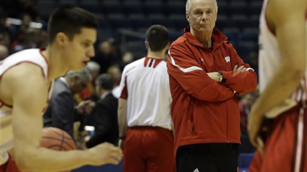 Wisconsin head coach Bo Ryan watches his team during a practice session for their NCAA college basketball tournament game Wednesday, March 19, 2014, in Milwaukee. Wisconsin plays American on Thursday, March 20, 2014. (AP Photo/Morry Gash)