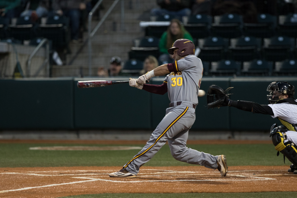 Arizona State Sun Devils catcher Zach Cerbo (#30) strikes out on the final pitch of the game.The Oregon Ducks defeated the Arizona State Sun Devils 2-0 in the first game of a three game series Friday evening at PK Park in Eugene, Oregon.  Photo by Austin Hicks, Oregon News Lab