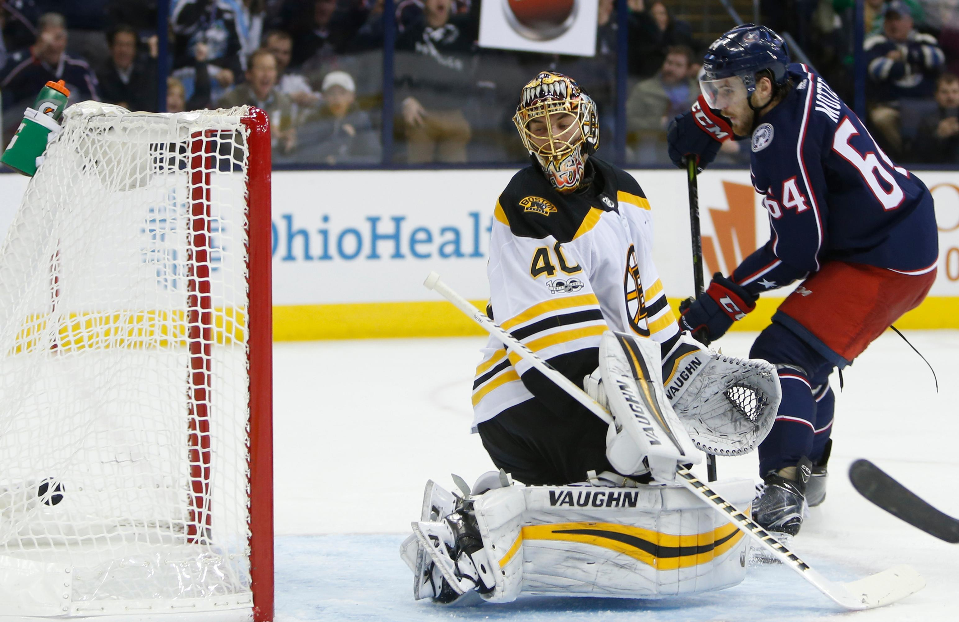 Columbus Blue Jackets' Tyler Motte, right, scores a goal past Boston Bruins' Tuukka Rask, of Finland, during the second period of an NHL hockey game Monday, Oct. 30, 2017, in Columbus, Ohio. (AP Photo/Jay LaPrete)