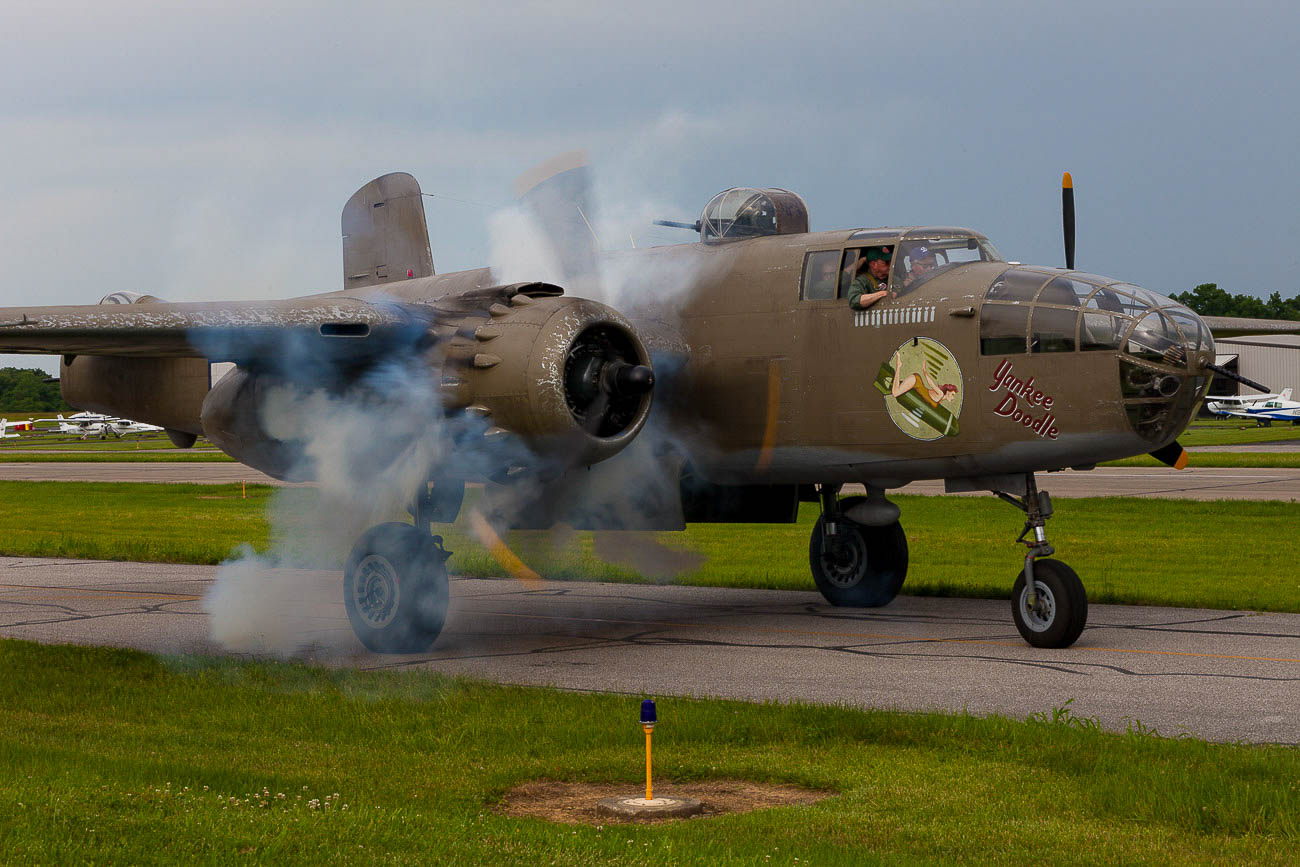 The B-25 was flown from Cincinnati all the way to Italy where the show was filmed. The trip required 31 flying hours across seven days with pilots wearing survival suits at times to protect them from cold weather, as the historic plane had no heating system. / Image: Ernie Muller{ }// Published: 10.15.19