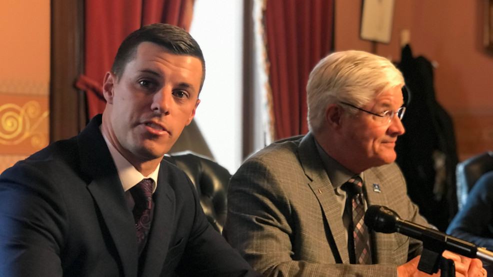 House Speaker Lee Chatfield (L) and Senate Majority Leader Mike Shirkey (R) give formal response to Gov. Gretchen Whitmer's State of the State address.jpg