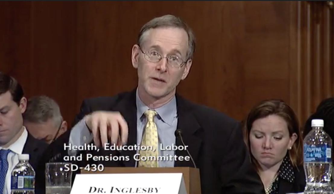 Dr. Tom Inglesby M.D. /Photo: Senate Health, Education Labor & Pensions